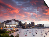 View over Lavendar Bay Toward the Habour Bridge and the Skyline of Central Sydney, Australia Prints by Andrew Watson