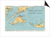 Massachusetts - Detailed Map of Martha's Vineyard and Nantucket Islands Prints by  Lantern Press