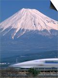Mount Fuji and Bullet Train (Shinkansen), Honshu, Japan Prints by Steve Vidler
