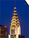 USA, New York, Manhattan, Midtown Skyline and Chrysler Building Art by Alan Copson