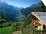 Alpine Cabin, Wengen and Lauterbrunnen Valley, Berner Oberland, Switzerland Print by Doug Pearson