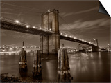 New York City, Manhattan, the Brooklyn and Manhattan Bridges Spanning the East River, USA Prints by Gavin Hellier