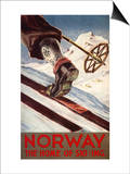 Lantern Press - Norsko - domov lyžování Plakát