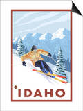 Downhhill Snow Skier, Idaho Poster by  Lantern Press