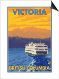 Ferry and Mountains, Victoria, BC Canada Print by  Lantern Press