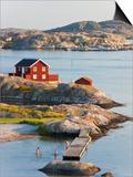 Bathing in Sea, Skarhamn on Island of Tjorn, Bohuslan, on West Coast of Sweden Kunstdruck von Peter Adams