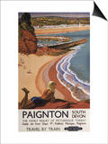 Paignton, England - British Railways Girl Looking over a Cliff Poster Prints by  Lantern Press