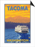 Ferry and Mountains, Tacoma, Washington Prints by  Lantern Press