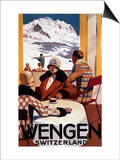 Wengen, Switzerland - The Downhill Club Promotional Poster Art