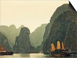 Vietnam, Halong Bay and Tourist Junk Boat Poster by Steve Vidler