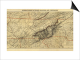 Mountains of North Carolina and Tennessee - Panoramic Map Print by  Lantern Press