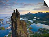 Rock Climbers Scale the Famous Svolværgeita, Svolvaer, Lofoten, Nordland, Norway Print by Doug Pearson