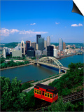 Duquesne Incline Cable Car and Ohio River, Pittsburgh, Pennsylvania, USA Posters by Steve Vidler