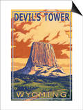 Wyoming, View of Devil's Tower Art by  Lantern Press