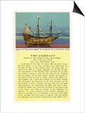 Plymouth, Massachusetts - Mayflower Model, the Compact in Plymouth Hall Scene Print