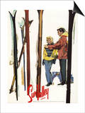Sun Valley, Idaho - Skis Standing Up in Snow by Couple Poster Prints by  Lantern Press