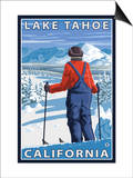 Skier Admiring, Lake Tahoe, California Posters