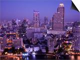 Thailand, Bangkok, City Skyline and Chao Phraya River at Night Prints by Steve Vidler
