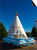 USA, Arizona, Holbrook, Route 66, Wigwam Motel, Chevrolet Impala Posters by Alan Copson