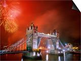 Tower Bridge and Fireworks, London, England Prints by Steve Vidler