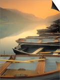 Boats on Lake, Wales Kunstdrucke von Peter Adams