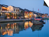 Vietnam, Hoi An, Evening View of Town Skyline and Hoai River Prints by Steve Vidler