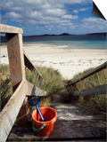 Bucket and Spade on the Steps Leading to the Beach Near Blockhouse Point, Tresco Print by Fergus Kennedy