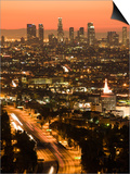 California, Los Angeles, Downtown and Hollywood Freeway 101 from Hollywood Bowl Overlook, USA Prints by Walter Bibikow
