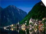 Village with Mountains and Lake, Hallstatt, Salzkammergut, Austria Posters by Steve Vidler