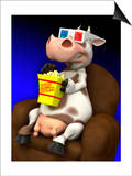 Cow in Chair with Popcorn and 3-D Glasses Prints