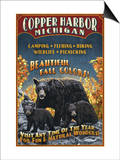Copper Harbor, Michigan - Black Bears Print by  Lantern Press