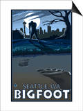 Seattle, Washington Bigfoot Prints by  Lantern Press