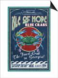 Isle of Hope, Georgia - Blue Crabs Print by  Lantern Press