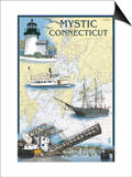 Mystic, Connecticut - Nautical Chart Posters by  Lantern Press