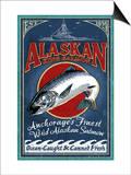 Anchorage, Alaska - Salmon Prints by  Lantern Press
