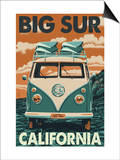 Big Sur, California - VW Van Blockprint Prints by  Lantern Press