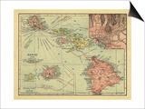 Hawaii - Panoramic State Map Prints by  Lantern Press