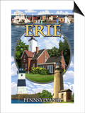 Erie, Pennsylvania - Montage Scenes Prints by  Lantern Press