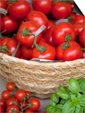 Sicily, Italy, Western Europe, Tomatoes and Basil, Staple Items in the Southern Italian Kitchen Posters by Ken Scicluna