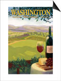 Washington Wine Country Póster por  Lantern Press