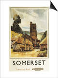 Somerset, England - Historic Village Scene British Railway Poster Prints by  Lantern Press