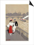 La Cite Art Deco Scene of Couple Watching Riverboat - Paris, France Posters