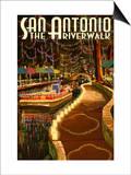 The Riverwalk - San Antonio, Texas Print by  Lantern Press