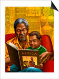 Man and Boy Reading Book About Africa Print