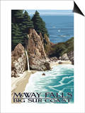 McWay Falls - Big Sur Coast, California Prints by  Lantern Press