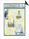 Charleston, South Carolina - Nautical Chart Prints by  Lantern Press
