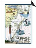 Long Beach Island, New Jersey - Nautical Chart Posters by  Lantern Press