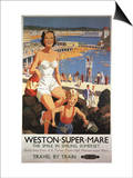 Weston-super-Mare, England - Mother & Son on Beach Railway Poster Print
