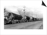 Larson Logging Co with 13 Truck Caravan - Bellingham, WA Prints by  Lantern Press