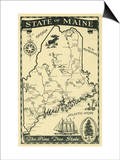 Maine, Highway Map of the Pine Tree State Scene Posters